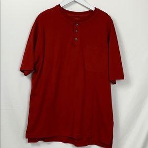 Red Head dark red 3 button tee shirt size Lg.